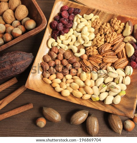 Varieties of nuts: peanuts, hazelnuts, chestnuts, walnuts, cashews, pistachio and pecans. Food and cuisine.