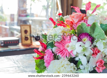 variety bloom flower on the table - stock photo
