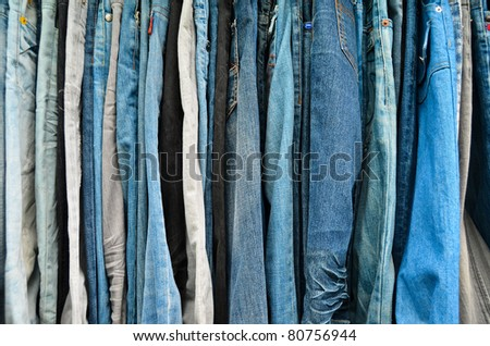 Variety color of jeans texture , closeup background - stock photo