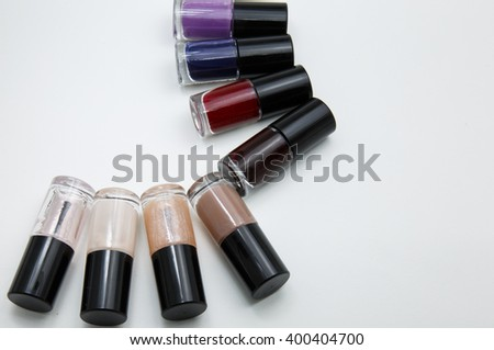 variety color of nail polish on white background