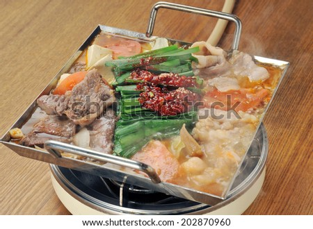 variety meat hot pot, motsunabe, japanese cuisine-2 - stock photo