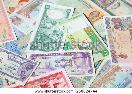 Variety of african banknotes