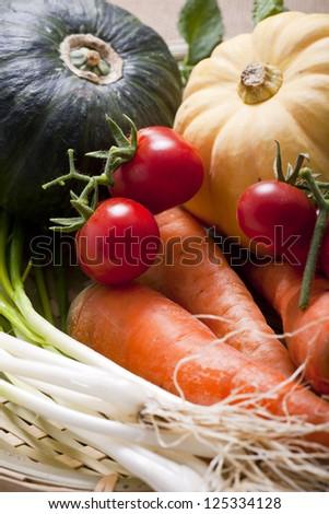 Variety of autumn fresh vegetables - stock photo