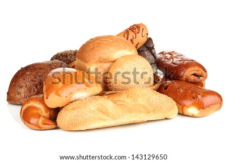 Variety of bread isolated on white - stock photo
