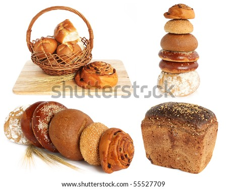 variety of bread, still life on white background - stock photo