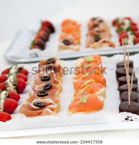 Variety of Canapes Arranged on Appetizer Trays for Celebration or Event