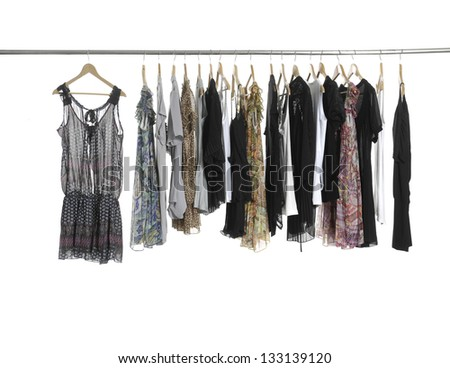 Variety of casual fashion clothing on hangers