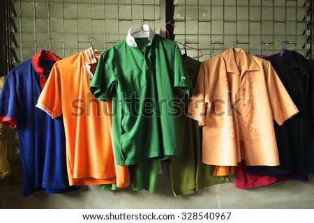 Variety of casual T-shirt on hangers / T-shirt on hangers