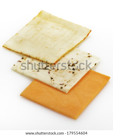 Variety Of Cheese Slices On White Background - stock photo