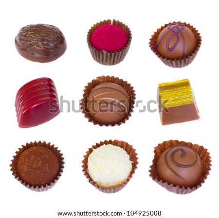 variety of chocolate pralines isolated on white background