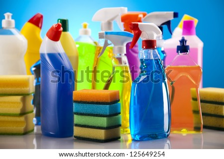 Variety of cleaning products - stock photo