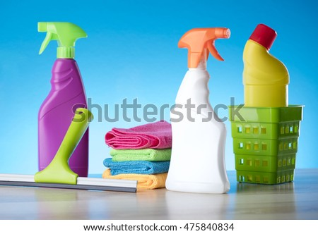 Variety of cleaning products,home work, on blue background