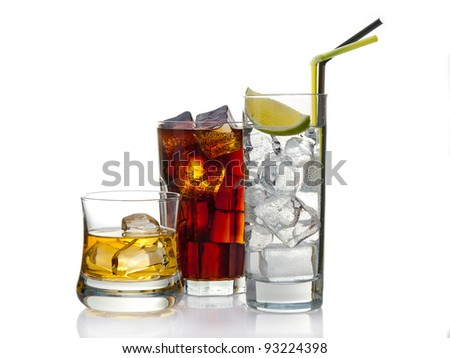 Variety of cocktails, isolated on white with reflection - stock photo