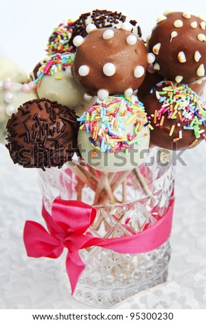 Variety of colorful cake pops - stock photo