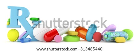 Variety of colorful prescription drugs - stock photo
