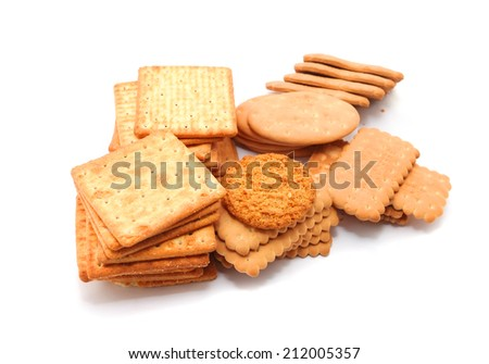 Variety of Cracker isolated on white