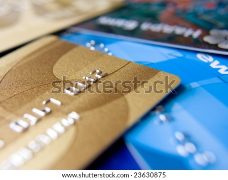variety of credit cards - stock photo