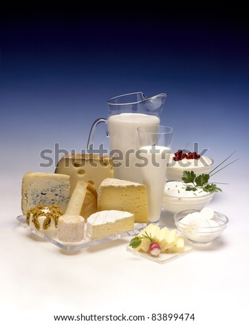 Variety of dairy products - stock photo