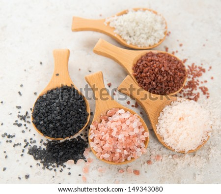 Variety of Different Sea Salts, Black and Red Hawaiian, Gray Celtic, Pink Himalayan, Flaky Murray River Australian - stock photo