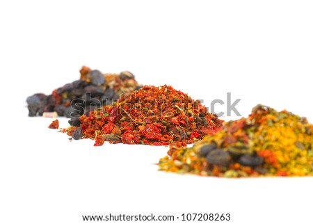 Variety of different spices in bowls close up