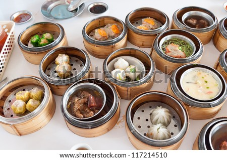 variety of dim sum, traditional Thai and Chinese breakfast - stock photo