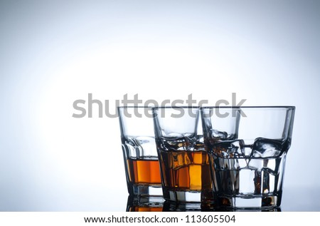 Variety of drinks on white background - stock photo