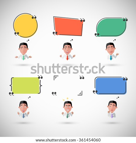 Variety of emotions man with speech bubble. Businessman and quote phrase, thought person, character manager, humand epression furious sad tired ilustration. Raster version - stock photo