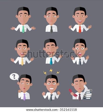 Variety of emotions office worker. Businessman person, cartoon people, character manager, success and angry, exhausted expression, depression and furious illustration. Raster version - stock photo