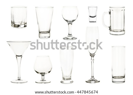 variety of empty glasses isolated on white