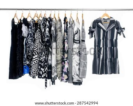 Variety of female clothing on hanging   - stock photo