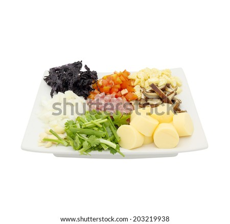 Variety of food ingredients isolated on white background - stock photo