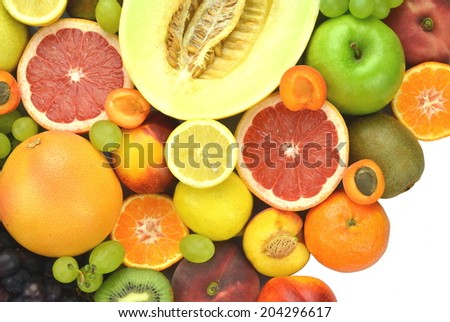 variety of fresh and delicious fruits isolated on white