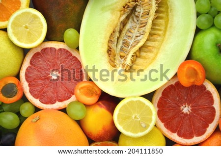 variety of fresh and delicious fruits on the table  - stock photo