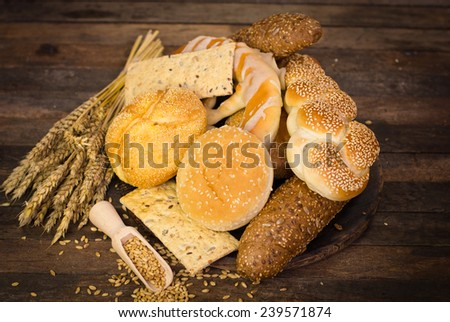 Variety of fresh bread and pastry - stock photo