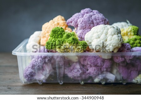 Variety of Fresh Cauliflower - stock photo