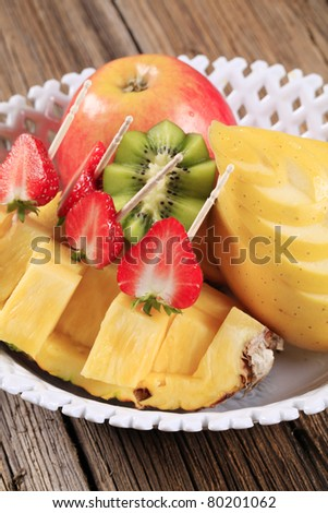 Variety of fresh fruit in a bowl