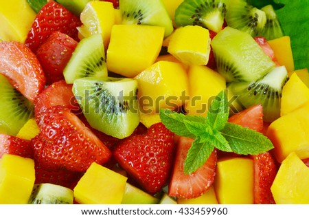 Variety of fresh fruit in the summer. Fruit mixed for health. - stock photo