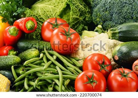 Variety of fresh organic vegetables. Detox diet - stock photo