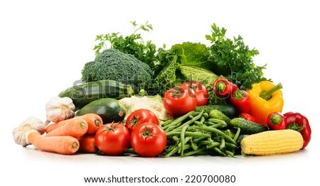 Variety of fresh organic vegetables isolated on white background - stock photo