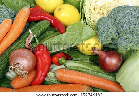 variety of fresh vegetables closeup