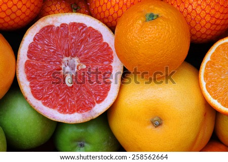 Variety of fruits in the street to make fresh juice - stock photo