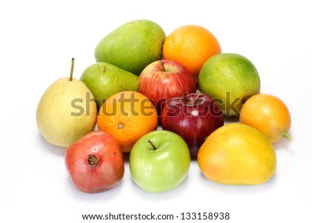 Variety of fruits on white - stock photo