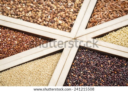 variety of gluten free grains (red and black quinoa, buckwheat, brown rive, amaranth and millet) in a wooden tray, focus on amaranth and black quinoa - stock photo
