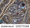 variety of gold and silver jewels, precious background - stock photo