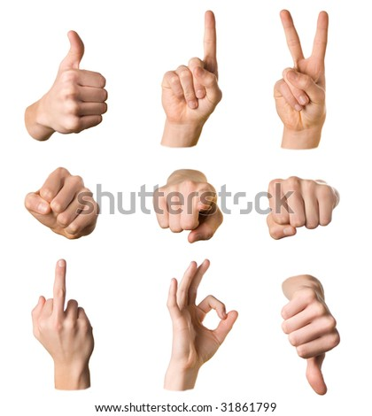 Variety of hands in different poses and signs on white background