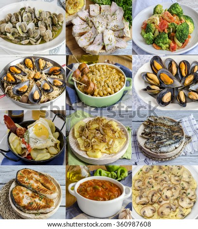 Variety of homemade dishes. Seafood, meat, vegetables