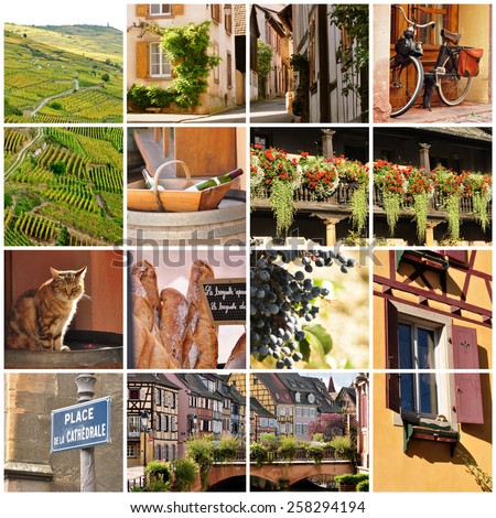 Variety of images from the wine region of Alsace, France - stock photo