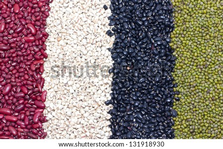 Variety of job's tears, Kidney beans, Mung beans and Black beans.