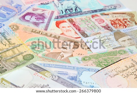 Variety of Middle East banknotes - stock photo