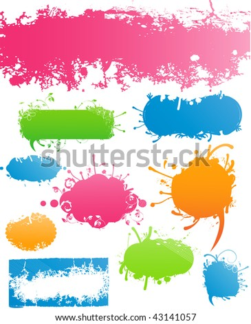 Variety of Modern Colored Grungy and Floral Banners for Your Text - stock photo